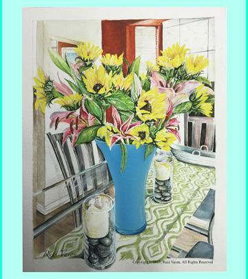 Sunflower & Glass Table